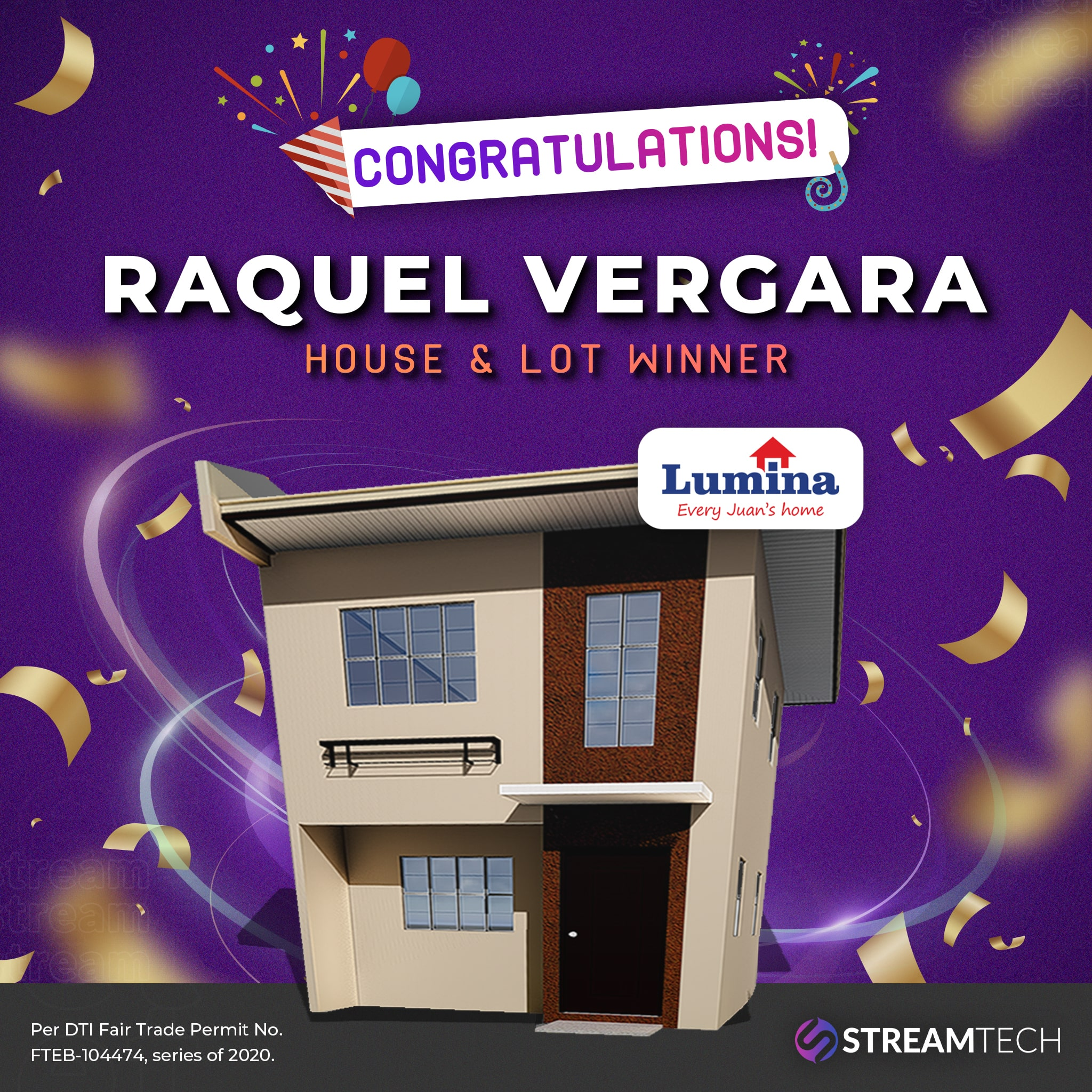 Congratulations to the first House and Lot Winner, from Streamtech Fiber Internet!