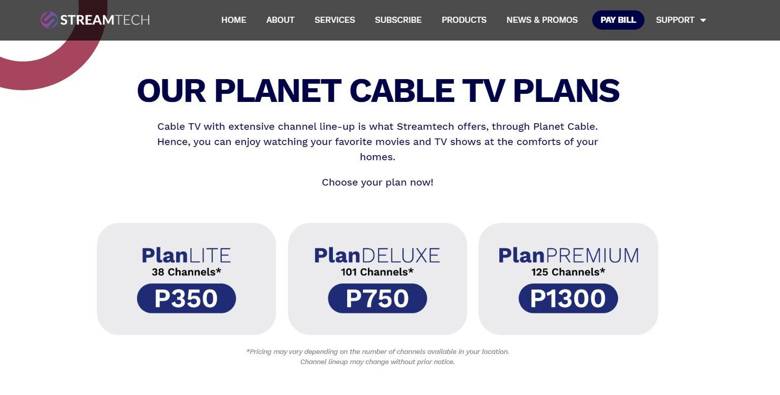 Streamtech Fiber Internet Cable TV Plans