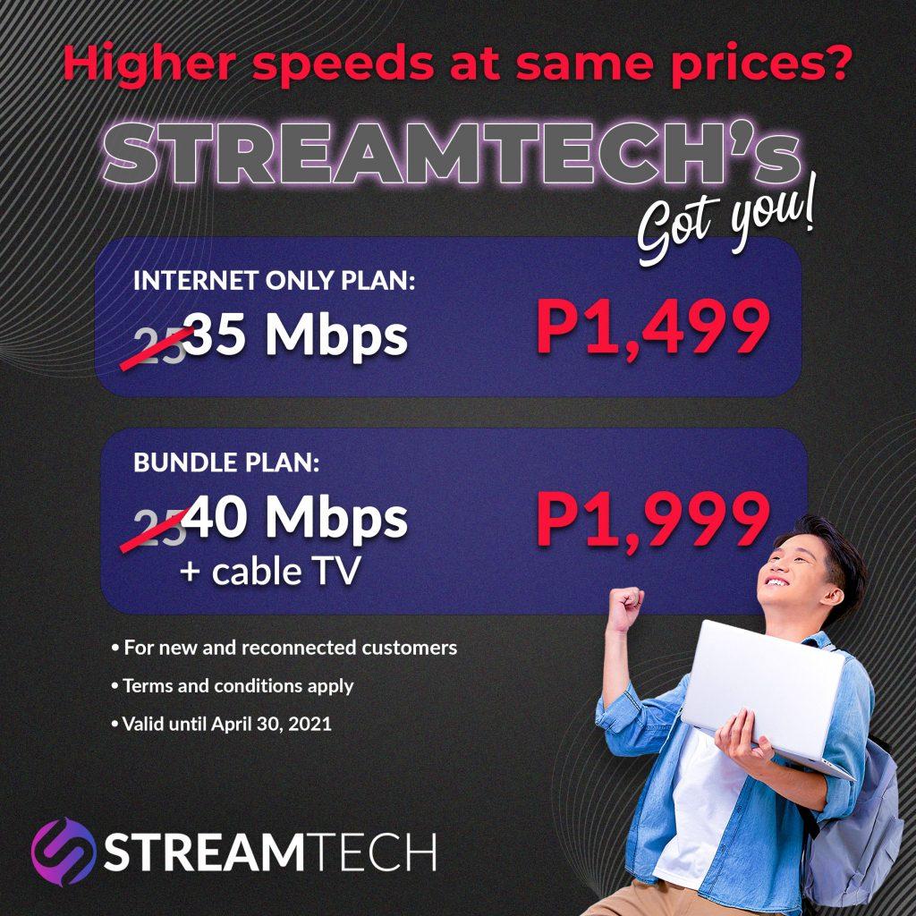 Streamtech Upgraded Fiber Internet Speed Promo for Off Net