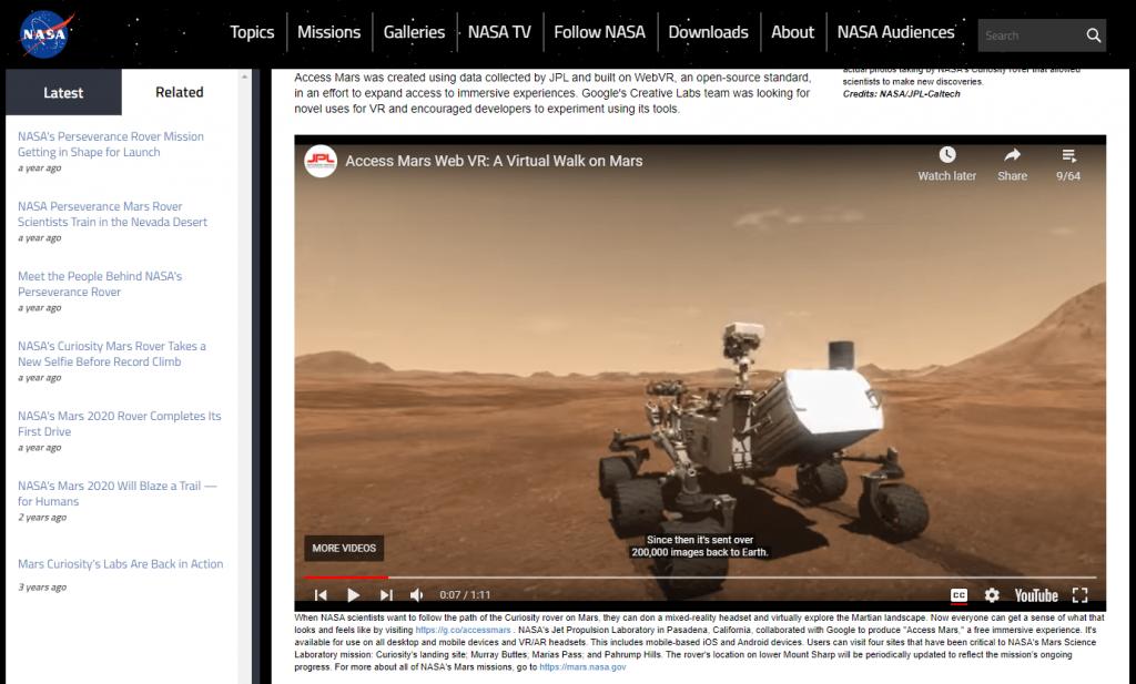 Walk the Mars by NASA - strong fiber internet connection - streamtech