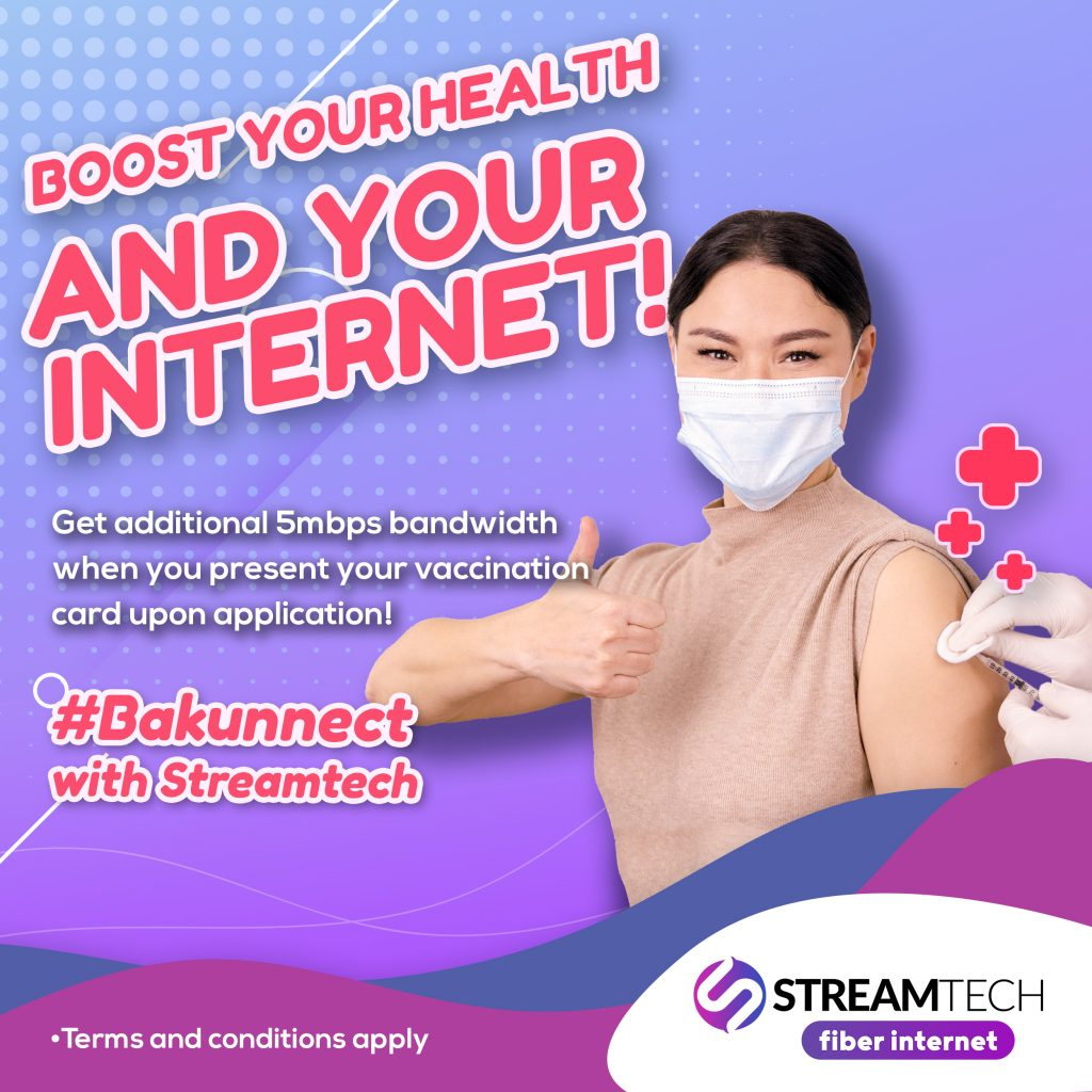 vaccination card benefit -bakunnect with Streamtech - fiber internet