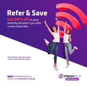 Refer and get half the price off - Streamtech Fiber Internet